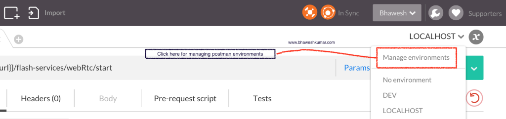 Postman manage environment